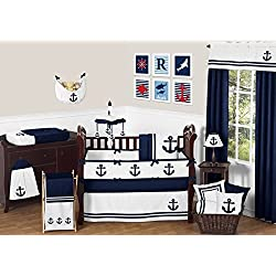 Sweet Jojo Designs Anchors Away Nautical Navy and White Boys Baby Bedding 9 Piece Crib Set