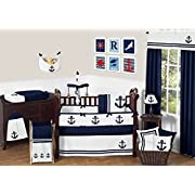 Sweet Jojo Designs 9-Piece Anchors Away Nautical Navy and White Boys Baby Bedding Crib Set