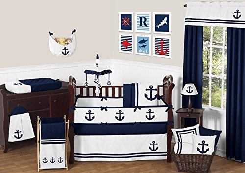 (Sweet Jojo Designs 9-Piece Anchors Away Nautical Navy and White Boys Baby Bedding Crib)