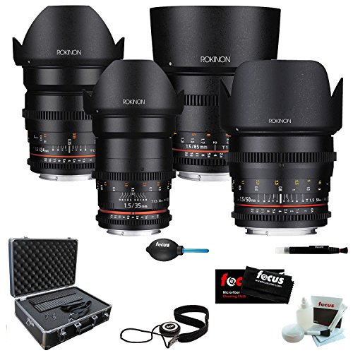 ROKINON CINE DS Super-Fast T1.5 Cinema Lens Kit - 24mm + 35mm + 50mm + 85mm for Sony E-Mount + Protective Photography Hard Case + Accessory Kit (Rokinon 35 For Sony compare prices)