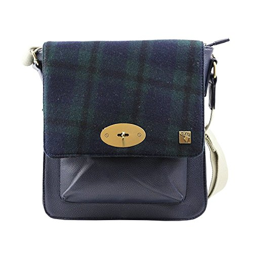 Tweed Messenger Check Blue Green Bag HHqwgO