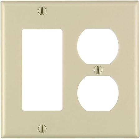 Device Mount 25-Pack Standard Size Leviton 80455-W 2-Gang 1-Duplex 1-Decora//GFCI Device Combination Wallplate White Thermoset