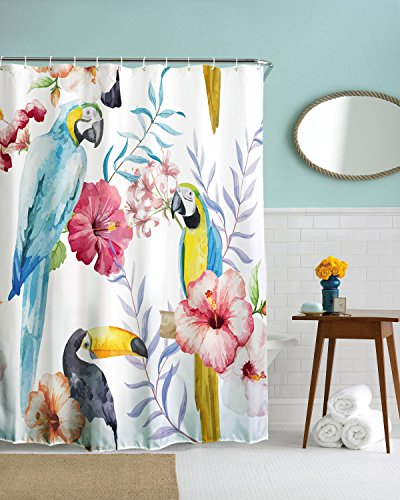 Get Orange Parrots Tropical Wild Orchids And Hibiscus Flowers Hawaiian Jungle Style Bathroom shower curtain 72