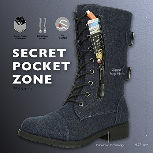 DailyShoes Credit Blue Denim Money Pocket Mid Card Military Wallet Knife Calf Combat Lace Boots High Women's up rxB84qrZ