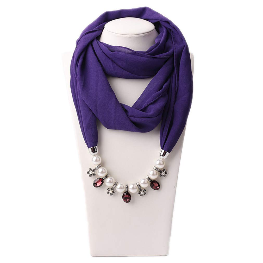 Pendant Scarf Necklace Pearls Necklaces for Women Chiffon Scarves Pendant Jewelry Wrap Female Accessories 1 one Size