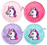 Rhode Island Novelty Lot of 12 Unicorn Coin Purses Girl's Birthday Party Favors Fantasy Zipper Pouch
