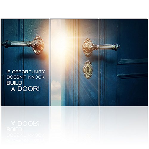 Visual Art Decor Success Inspiration Quote Canvas Wall Art If Opportunity Doesn't Knock Build a Door Motivation Motto Framed Giclee Prints Home Office Decoration (W-60 xH-36) 1 Framed Giclee Print