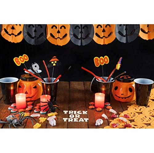 OFILA Kids Halloween Backdrop 6.5x5ft Polyester Fabric Halloween Trick or Treat Events Photos Background Halloween Pumkin Lights Decor Primary School Halloween Party Video Studio Props ()