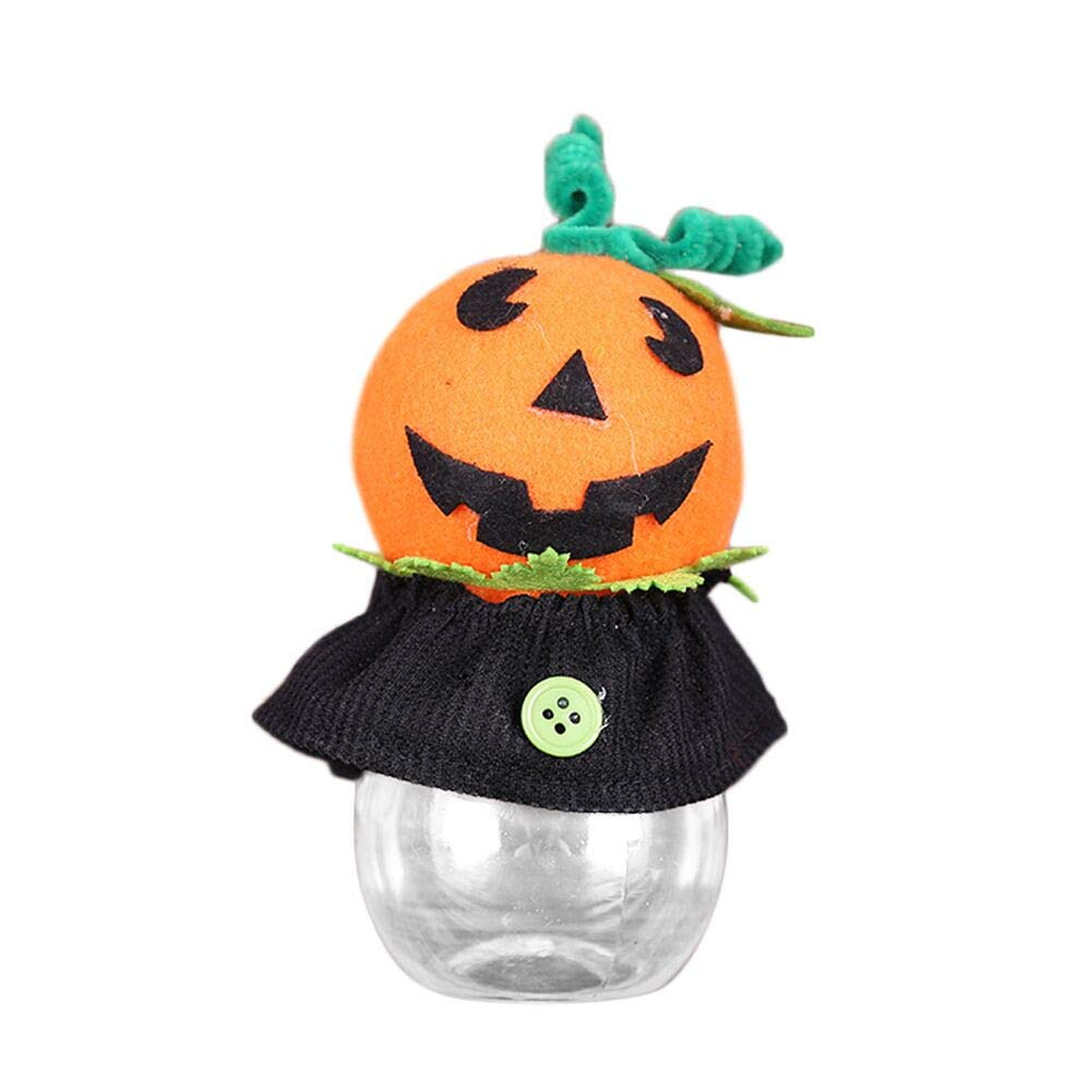 Happy Halloween Trick Or Treat Bags Party Creative Transparent Bottle Case Candy Jar Doll Toys Bag (A)