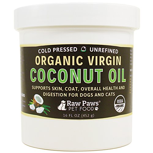 Raw Paws Organic Virgin Coconut Oil for Dogs & Cats, 16-oz - Supports Immune System, Digestion, Oral Health, Thyroid - All Natural Allergy Relief for Dogs, Hairball Relief, Tick Flea Control for Dogs by Raw Paws
