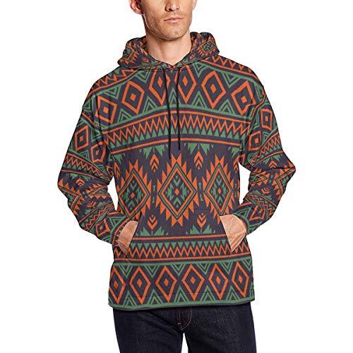 INTERESTPRINT Men's African Ethnic Hooded Pullover Sweatshirt L