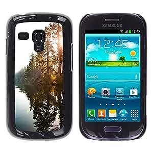 For Samsung Galaxy S3 III MINI (NOT REGULAR!) / I8190 / I8190N Case , Lake Sunshine Through Trees - Diseño Patrón Teléfono Caso Cubierta Case Bumper Duro Protección Case Cover Funda