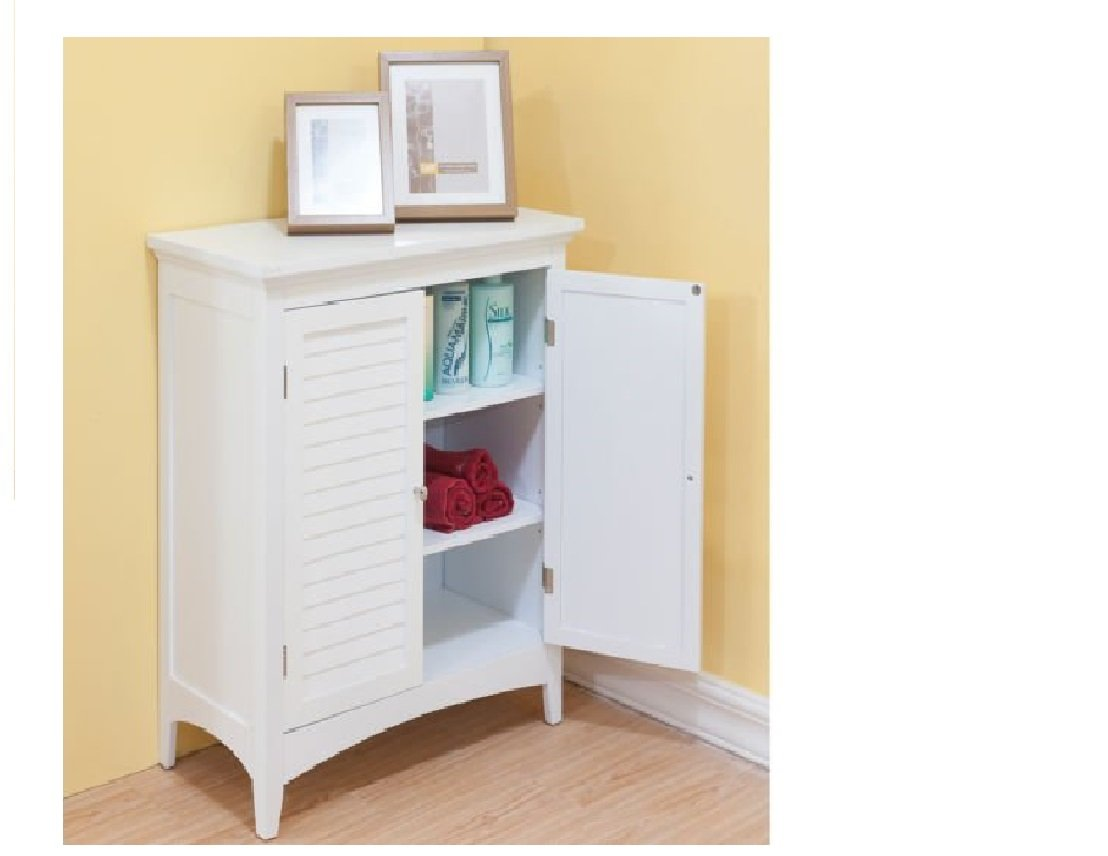 White Double Doors Floor Bathroom Storage, Decorative Bathroom Furniture and Medicine Cabinet by Bayfield