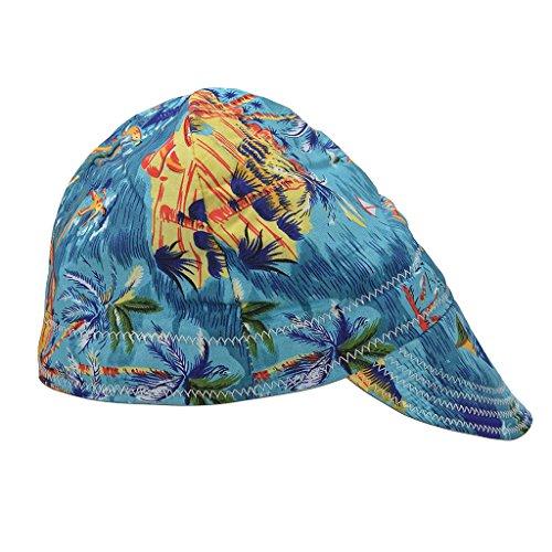(Blue Welding Protective Hat Cap Welder Flame Retardant Cotton)