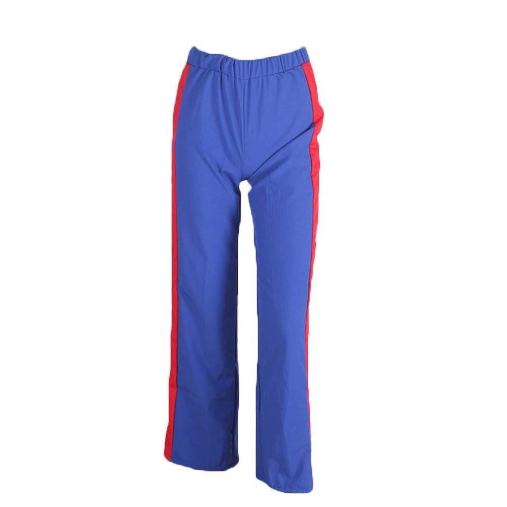 ec2cbba2cdfc BOLAWOO Printemps Eté Femme Elégante Pantalon Taille Haute Taille Élastique  Mode Chic Fourcher Rayures Verticales Rivet ...