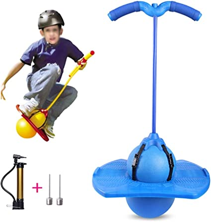 FURTHERNEXT Pogo Stick Ball Bouncing Blue Pogo Maximum Load-Bearing 220lb Suitable for Children and Teenagers with Handle and Ball Pump High Jump Toy