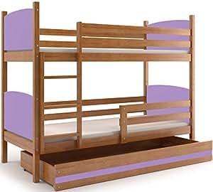 Interbeds Cama Doble - litera Infantil,Tami, 160X80, Color Aliso, los Paneles (colchones,somieres y cajón Gratis) (Violeta): Amazon.es: Hogar