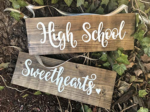 High School Sweethearts, Wedding Chair Signs, Rustic Wedding Decor, Bride and Groom Chair Hangers, Hand Painted Wood Signs, Wedding Sign. -