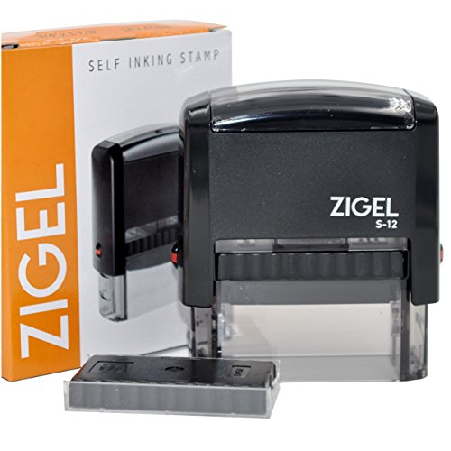 ZIGEL Customized Return Address Stamp Self Inking Rubber Stamp with Extra Replacement Pad - Up to Four Lines of Type