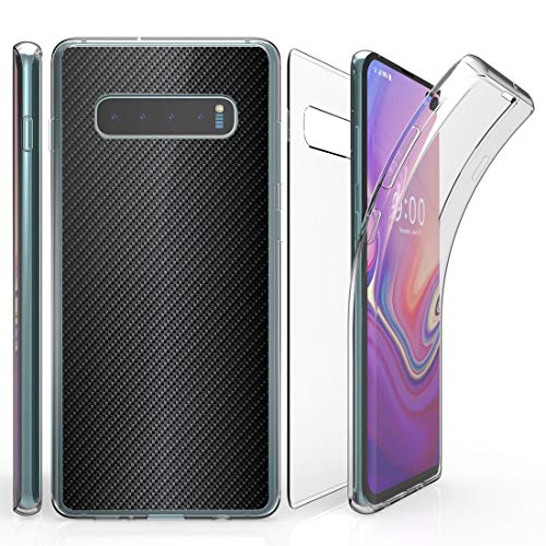 Beyond Cell Tri Max Series Compatible with Samsung Galaxy S10, Slim Full Body Coverage Case with Self-Healing Flexible Gel Transparent Clear Screen Protector Cover and Atom Cloth - Carbon Fiber