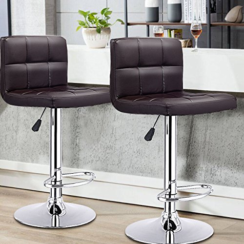 GentleShower Barstools, Set of 2 Modern Square Leather Adjustable Height Swivel Bar Stools Backrest - Brown Leather Stools