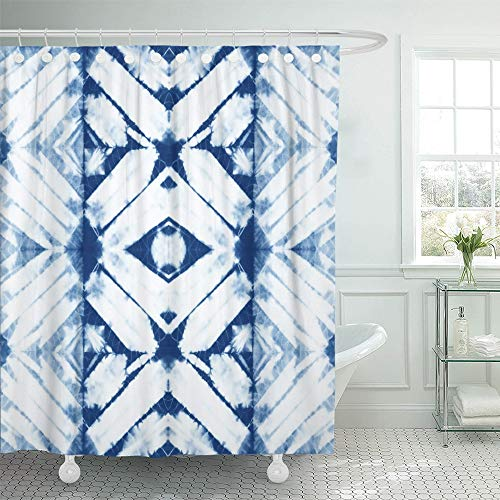 Emvency Shower Curtain Waterproof Polyester Bathroom 72 x 78 inches Abstract Batik Tie Dyed of Indigo Color on White Cotton Hand Dye Fabrics Shibori Set with Hooks Decorative - Hand Fabric Batik Dyed