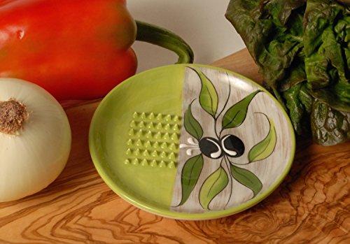 Plate Grating (Ceramic Garlic Grater Plate - Green Olive Design)