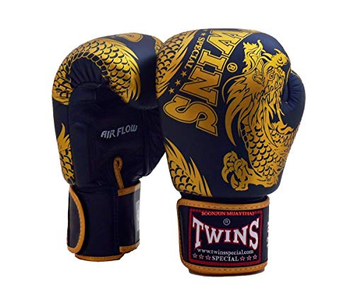 Twins Special Muay Thai Boxing Gloves BGVLA 2 Air Flow Gloves. Univesal Gloves for Training or Sparring. (FBGV49 Black/Gold, 14 - Boxing Twins Gloves
