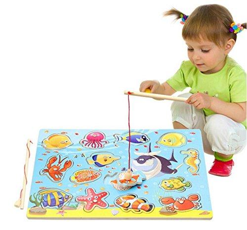 Kelaina divertente legno pesca gioco giocattolo set con canna da pesca per bambini regalo