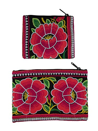 Store Indya, Set of 2 Bags Pouch Purse Cotton Handcrafted Thick Designer Floral Stitched Kutch Zipper Small & Large Women's Travel Cosmetic Bags Small Makeup Clutch Pouch - Store Zipper Von