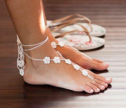 Amazon flower barefoot sandals in ivory bridesmaid gift for flower barefoot sandals in ivory bridesmaid gift for beach weddings foot jewelry beach junglespirit Gallery