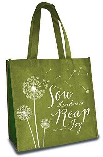 Sow Kindness Reap Joy 12 x 12 Inch Reusable Eco-Friendly Tote Bag Pack of 6 by Divinity Boutique