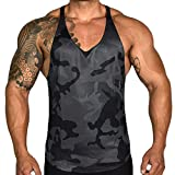 iHPH7 Vest Men Tank Tops Casual Graphics Tees Sleeveless T-Shirt Men Camouflage Printed Sports Vest Striped Splice Large Open-Forked Male Vest XXL Black