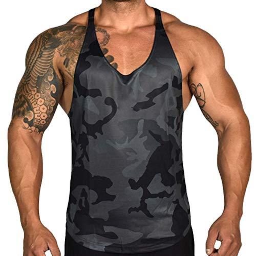 Yucode Men Camouflage Printed Sports Vest Splice Large Tank Top Vest Tee