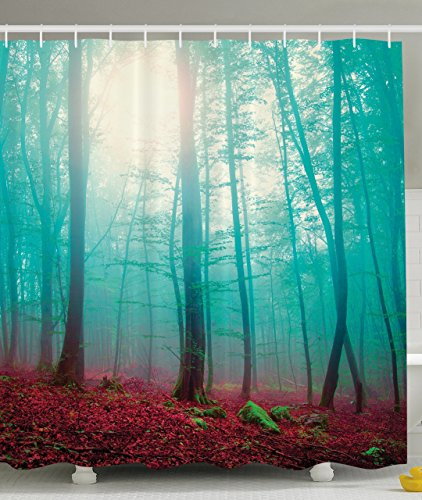 ambesonne-scenic-art-decor-collection-mystic-forest-red-leaves-white-fog-view-picture-print-polyeste