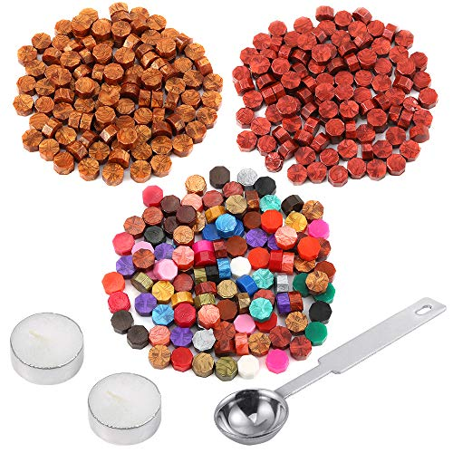 Auihiay 300 Pieces 22 Colors Sealing Wax Beads Sticks Set with 1 Piece Wax Melting Spoon and 2 Pieces Candles for Postage Letter Retro Vintage Wedding Wax Seal Stamp ()