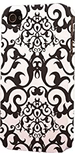 Black & White Damask Pattern Dimensional Case Fits Apple iPhone 4 or iPhone 4s