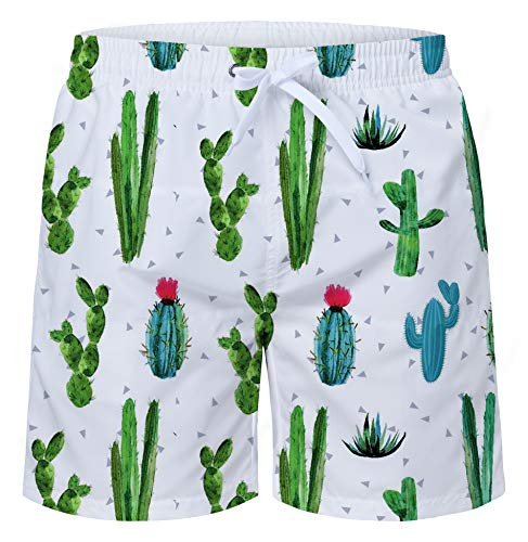 Uideazone Men's Cactus Pattern Swim Trunks Swim Activewear Breathable Board Short for Summer