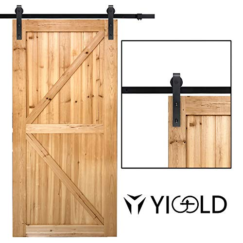 "8ft Sliding Barn Door Hardware Kit- Antique Style & Slide Smoothly Quietly, Upgraded Version for Factory Outlet Carbon Steel Quality,Fit 45""-48"" Wide Door Panel-(J Shape Hanger)"