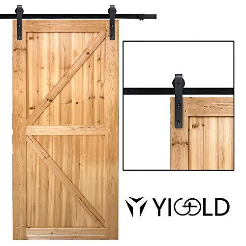 "8ft Sliding Barn Door Hardware Kit- Antique Style & Slide Smoothly Quietly, Upgraded Version for Factory Outlet Carbon Steel Quality,Fit 45""-48"" Wide Door Panel-(J Shape Hanger)"