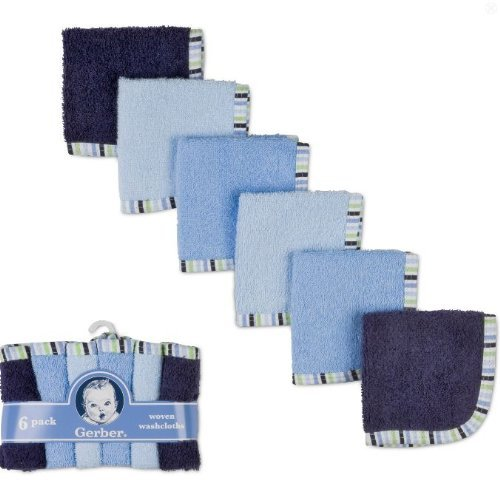 Gerber 6 pack tissés débarbouillettes 100% coton 9 x 9 Boy Couleurs