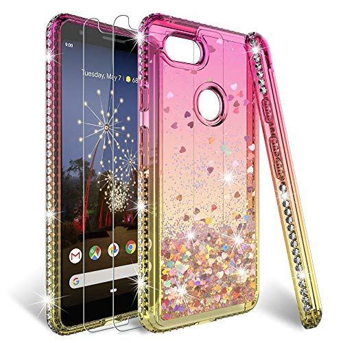 HATOSHI Google Pixel 3a Case with Screen Protector Tempered Glass [2 Pack], Pixel 3a Glitter Case for Girls Women, Liquid Sparkle Bling Diamond Clear Cute Phone Protective Case for Pixel 3a -Pink/Gold ()