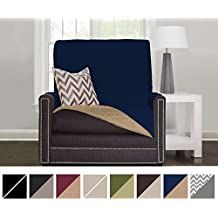 """The Original SOFA SHIELD Reversible Couch Slipcover Furniture Protector, 2 Inch Elastic Strap, Machine Washable, Cover Perfect for Pets and Kids, Seat Width Up to 21"""" (Chair: Navy/Sand)"""