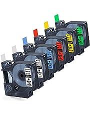 """Labelife 6X Replace DYMO D1 Label Tape 45013 45010 45016 45017 45018 45019 D1 Refills Compatible DYMO LabelManager 160 280 420P PnP 220P 360D 450 210D, 1/2"""" W x 23' L, 12mm x 7m"""