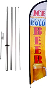 Ice Cold Beer Convenience Store Advertising Feather Banner Swooper Flag Sign with Flag Pole Kit and Ground Stake
