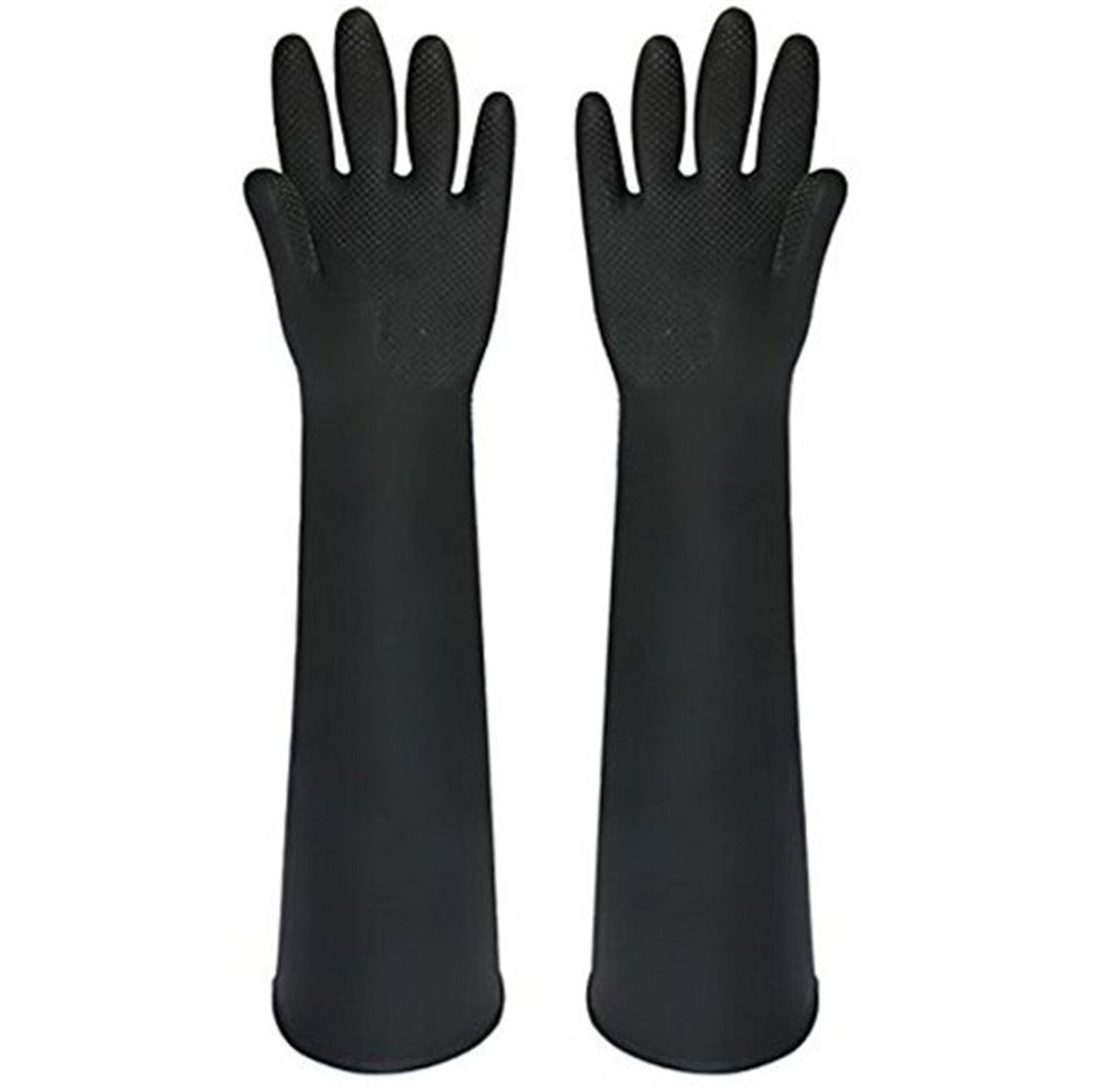 Katoot@ Powder Free Chemical Resistant Rubber Gloves Large Rolled Beaded Cuff,Acid Oil Resistant Working Hands 23.62 inch, Black 1 Pairs/Pack (Black)
