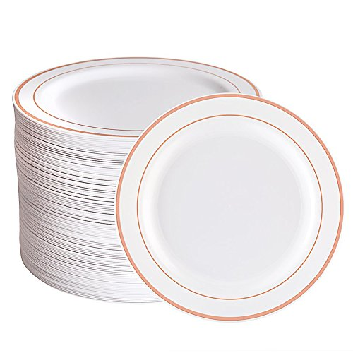 (Rose Gold Plastic Plates 96 Pieces, Premium Heavyweight Dessert Plates 7.5