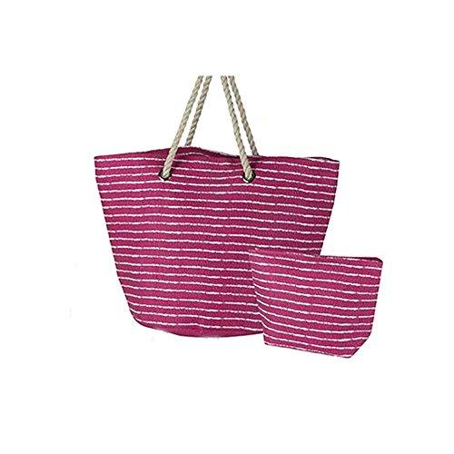 Tasche und Täschchen Strand (560x 20x 380mm Streifen 3Farben–Pink
