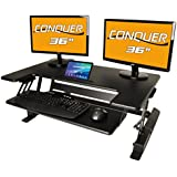 Conquer Height Adjustable Standing Desk Monitor Riser, 36 TabletopSit to Stand Workstation