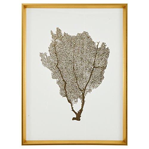 (Modern Gold Foil Sea Fan Print I Framed Wall Art Décor - 24 x 30 Inch Frame, Gold)